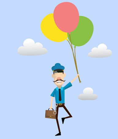 Cartoon Cop Policeman - Flying with Balloons