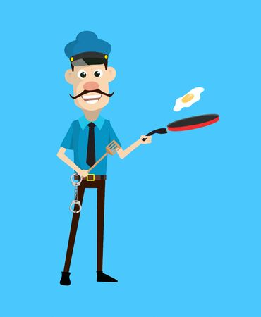 Cartoon Cop Policeman - Preparing Food Illustration