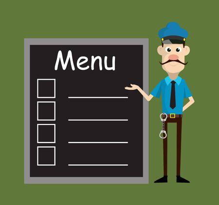 Cartoon Cop Policeman - Presenting Menu List Ilustrace