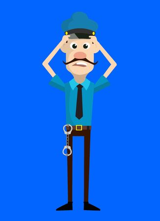 Cartoon Cop Policeman - with Worried Face Illustration