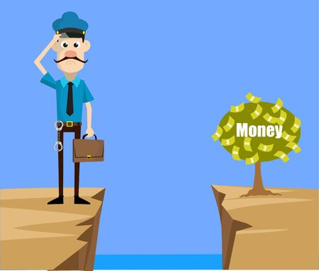 Cartoon Cop Policeman - Thinking How to Reach Close to Money Plant 向量圖像