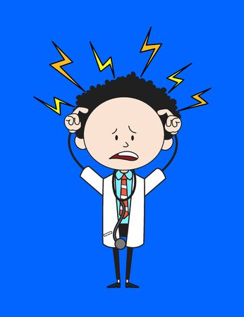 Cartoon Doctor - with Worried Face
