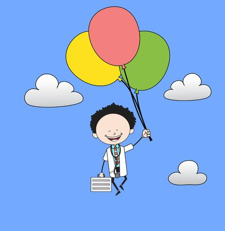 Cartoon Doctor - Flying with Balloons