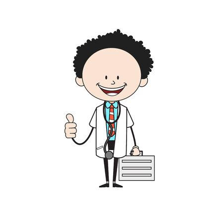 Cartoon Doctor - Showing a Thumb Up Vector Ilustração