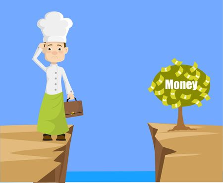 Chef - Thinking How to Reach Close to Money Plant Ilustrace