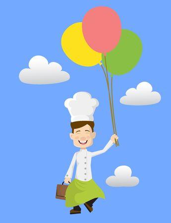 Chef - Flying with Balloons Illusztráció