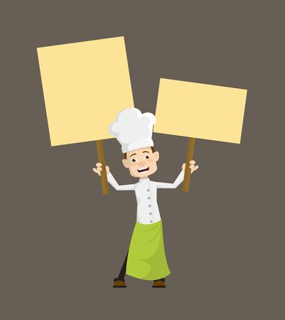 Chef - Holding Placards in Both Hands Stock Illustratie