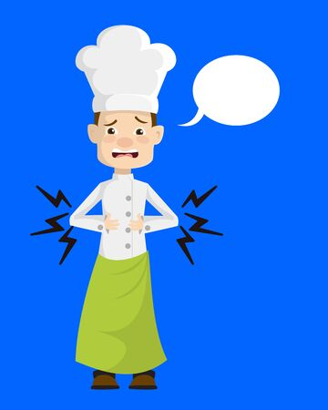 Chef - Feeling Pain in Stomach with Speech Bubble