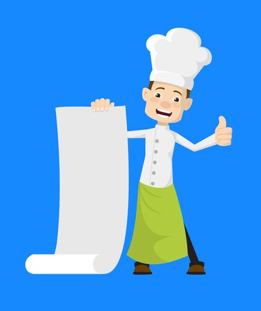 Chef - Holding a Paper Scroll and Showing Thumbs Up