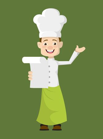 Chef - Holding a Paper and Announcing
