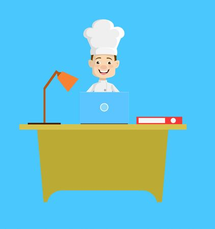 Chef - Working on Laptop