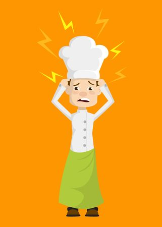 Chef - with Worried Face Illustration
