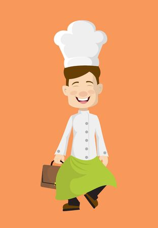 Chef - Cheerful Face with Holding Suitcase