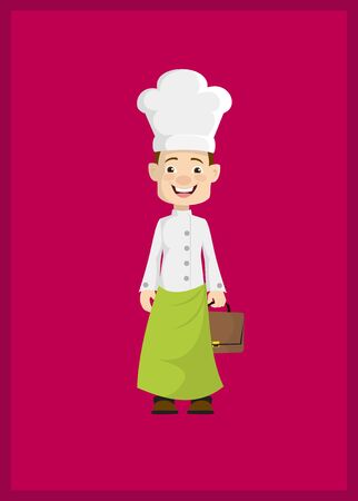 Chef - Holding a Suitcase and ready to go Illustration Stock Illustratie
