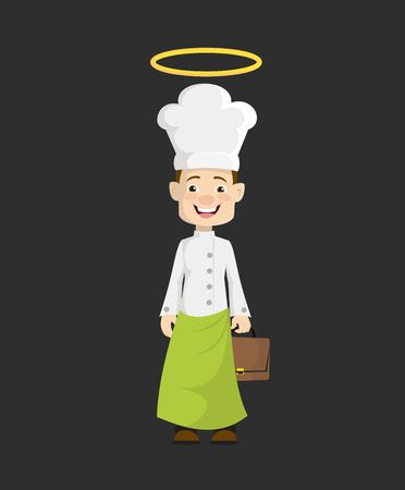 Chef - Standing and Smiling Stock Illustratie