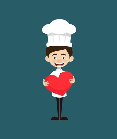 Chef Cartoon - Standing with a Heart Standard-Bild - 133154769