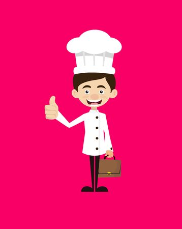 Chef Cartoon - Showing a Thumb Up Vector Illustration