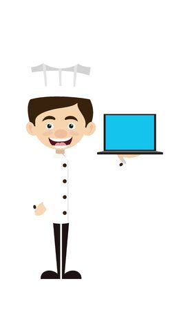 Chef Cartoon - Presenting a Laptop Vector Stock Illustratie