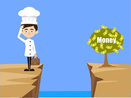 Chef Cartoon - Thinking How to Reach Close to Money Plant