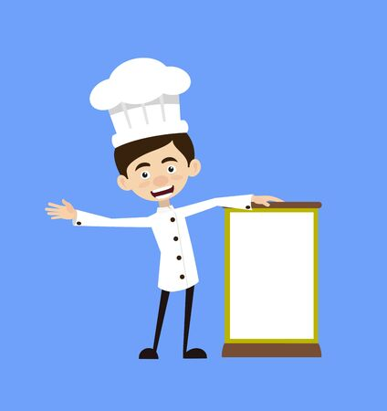 Chef Cartoon - Standing with a Blank Board