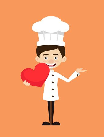 Chef Cartoon - Holding a Heart and Showing with Hand