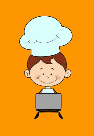 Chef Cartoon - Sitting and Working on Laptop