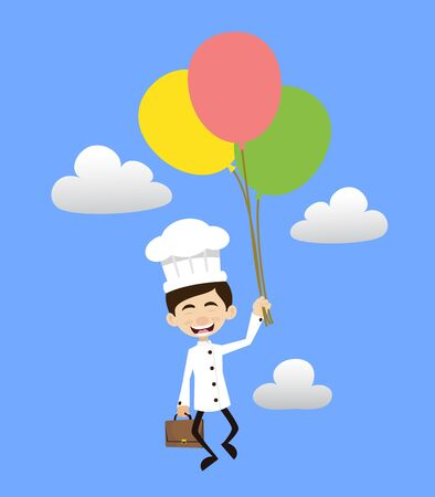 Chef Cartoon - Flying with Balloons