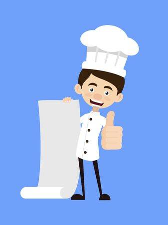 Chef Cartoon - Holding a Paper Scroll and Showing Thumbs Up Stock Illustratie