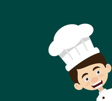 Chef Cartoon - Empty Space with Head in Corner