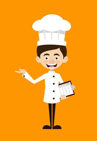 Chef Cartoon - Holding a Checklist and Showing with Hand Gesture Stock Illustratie
