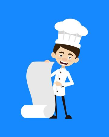Chef Cartoon - Showing a Paper Scroll Stock Illustratie