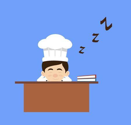 Chef Cartoon - Sleeping on Office Desk