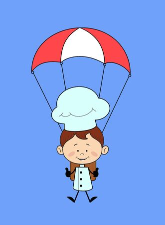 Chef Cartoon - Successful Landing with Parachute