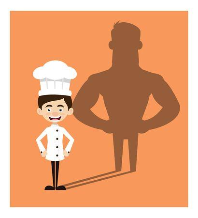 Chef Cartoon - Standing in Positive Attitude Illustration