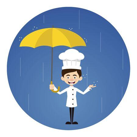 Chef Cartoon Standing in Rain with Umbrella