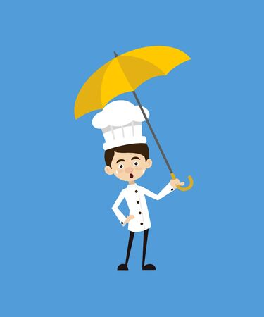 Chef Cartoon - Standing with Umbrella