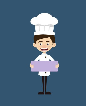 Chef Cartoon - Standing with Message Board