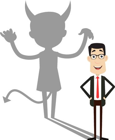 Corporate Business Character - Devil person Standing with Fake Smile 版權商用圖片 - 133099789