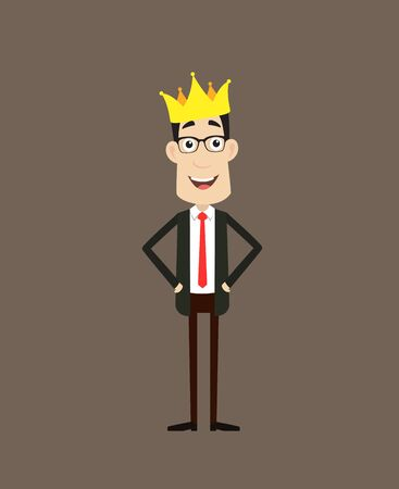 Corporate Business Character - Wearing a Crown Vector Vectores