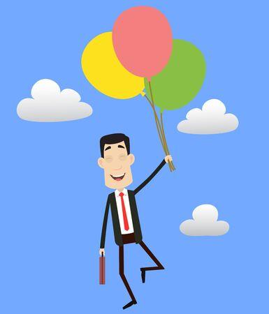 Corporate Business Character - Flying with Balloons Illusztráció
