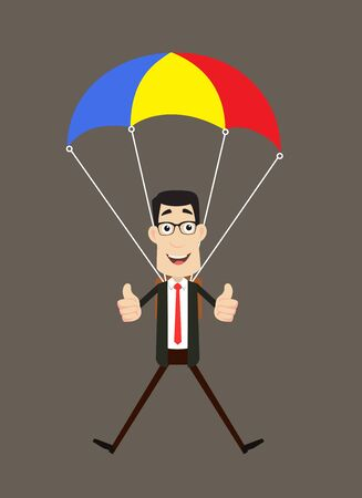 Corporate Business Character - Successful Landing with Parachute