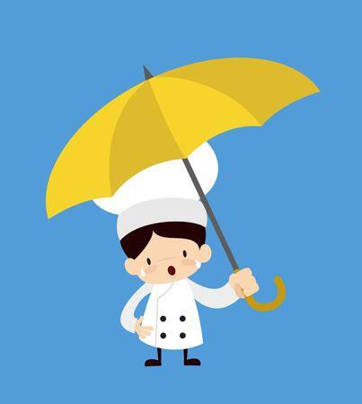 Cute Cartoon Chef - Standing with Umbrella