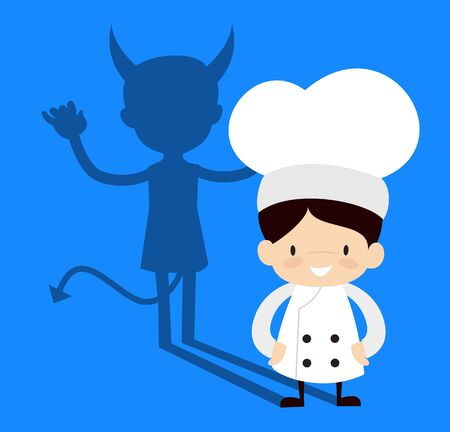 Cute Cartoon Chef - Devil person Standing with Fake Smile 向量圖像
