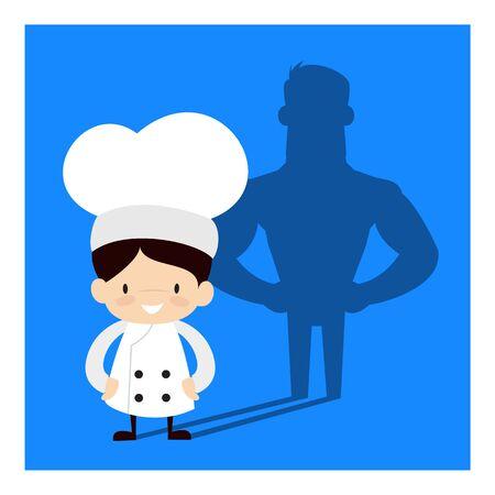 Cute Cartoon Chef - Standing in Positive Attitude Ilustrace