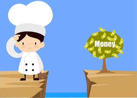 Cute Cartoon Chef - Thinking How to Reach Close to Money Plant