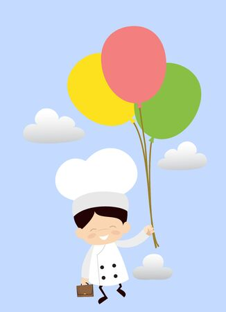 Cute Cartoon Chef - Flying with Balloons