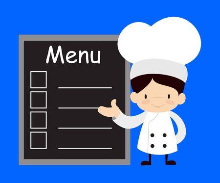 Cute Cartoon Chef - Presenting Menu List Vectores