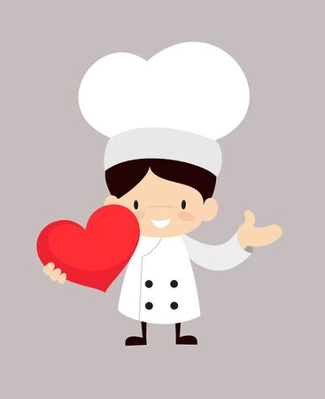 Cute Cartoon Chef - Holding a Heart and Showing with Hand
