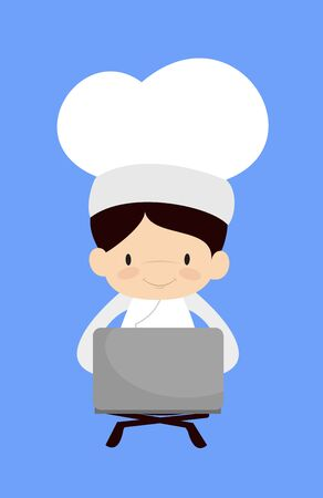 Cute Cartoon Chef - Sitting and Working on Laptop