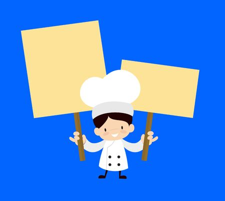 Cute Cartoon Chef - Holding Placards in Both Hands
